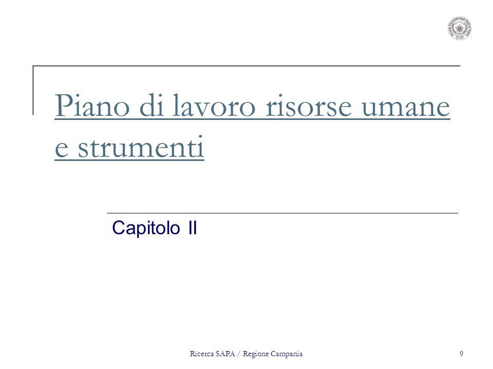 Ricerca SAPA / Regione Campania9 Piano di lavoro risorse umane e strumenti Capitolo II
