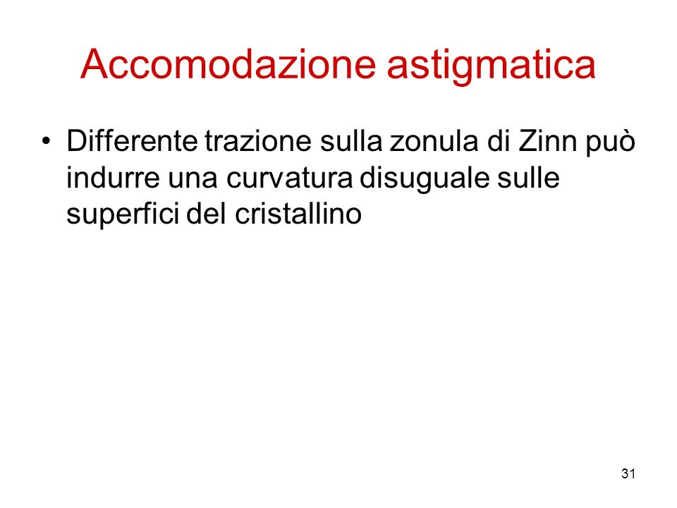 31 Accomodazione astigmatica Differente trazione sulla zonula di Zinn può indurre una curvatura disuguale sulle superfici del cristallino