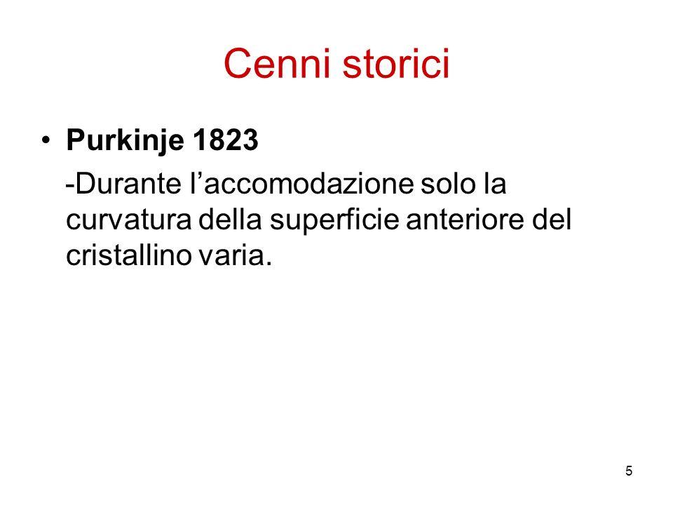5 Cenni storici Purkinje 1823 -Durante laccomodazione solo la curvatura della superficie anteriore del cristallino varia.