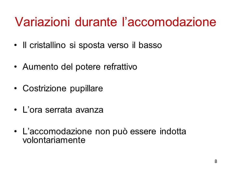 19 Lag accomodativo Laccomodazione viene attuata in grado minore a quella teoricamente necessaria.