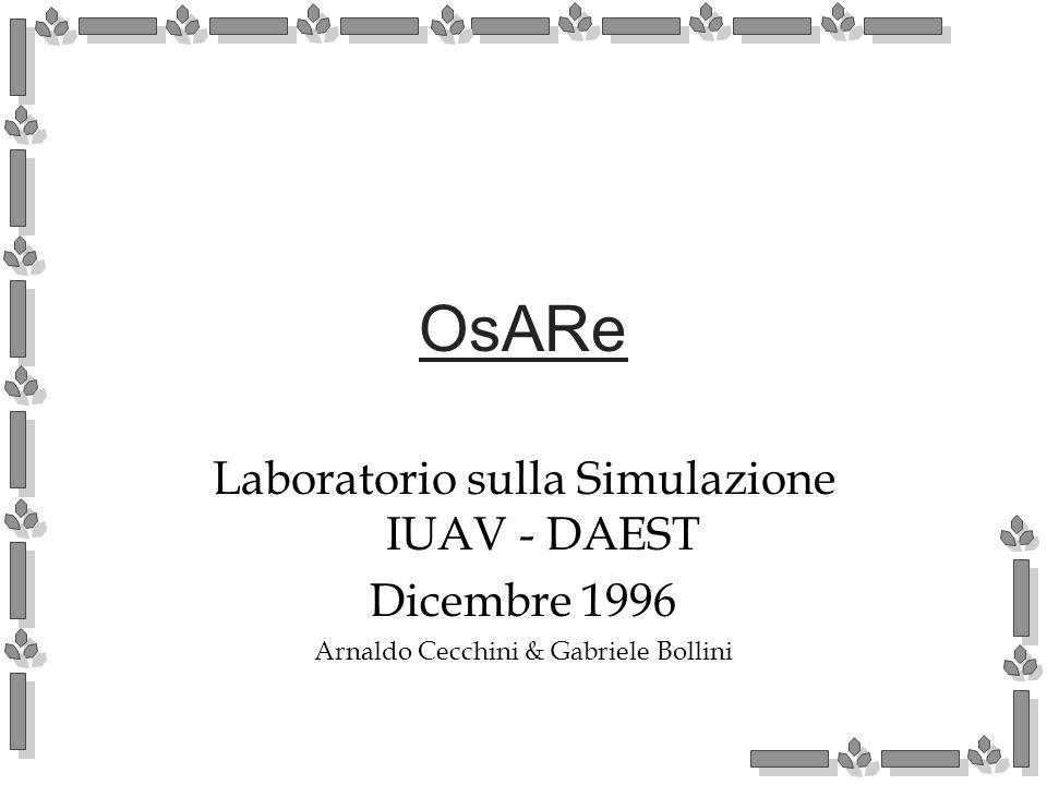 OsARe Laboratorio sulla Simulazione IUAV - DAEST Dicembre 1996 Arnaldo Cecchini & Gabriele Bollini