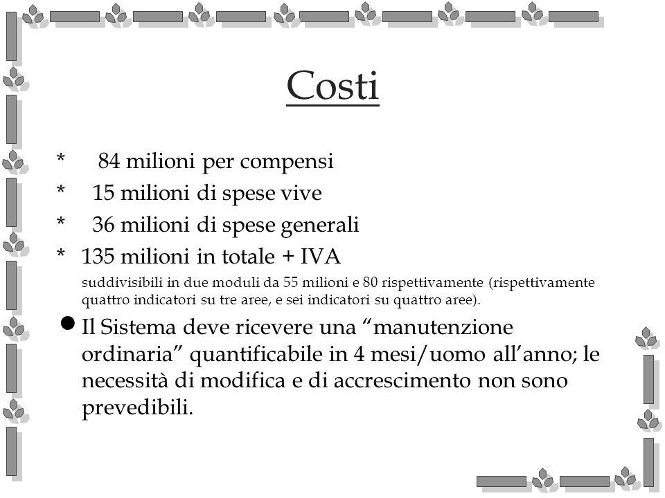 Costi * 84 milioni per compensi * 15 milioni di spese vive * 36 milioni di spese generali *135 milioni in totale + IVA suddivisibili in due moduli da