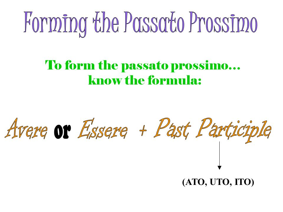 To form the passato prossimo… know the formula: (ATO, UTO, ITO)