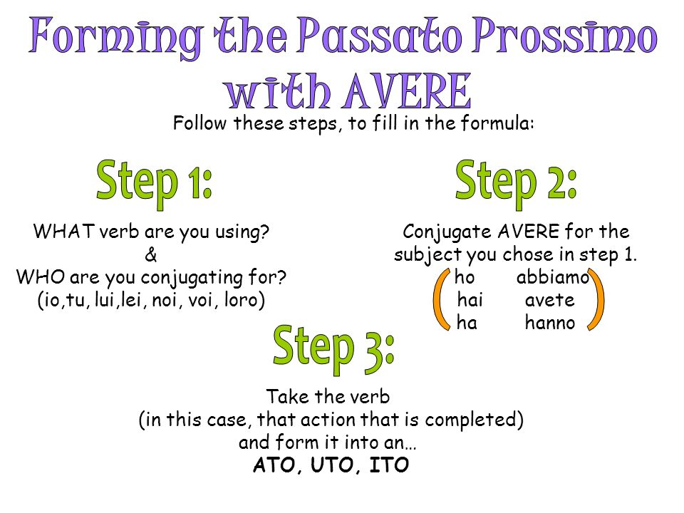 Follow these steps, to fill in the formula: WHAT verb are you using? & WHO are you conjugating for? (io,tu, lui,lei, noi, voi, loro) Conjugate AVERE f