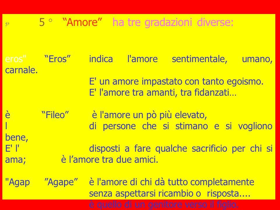 6° Amore - egoismo Se quello che chiamo amore è una forma di tornaconto personale (es.