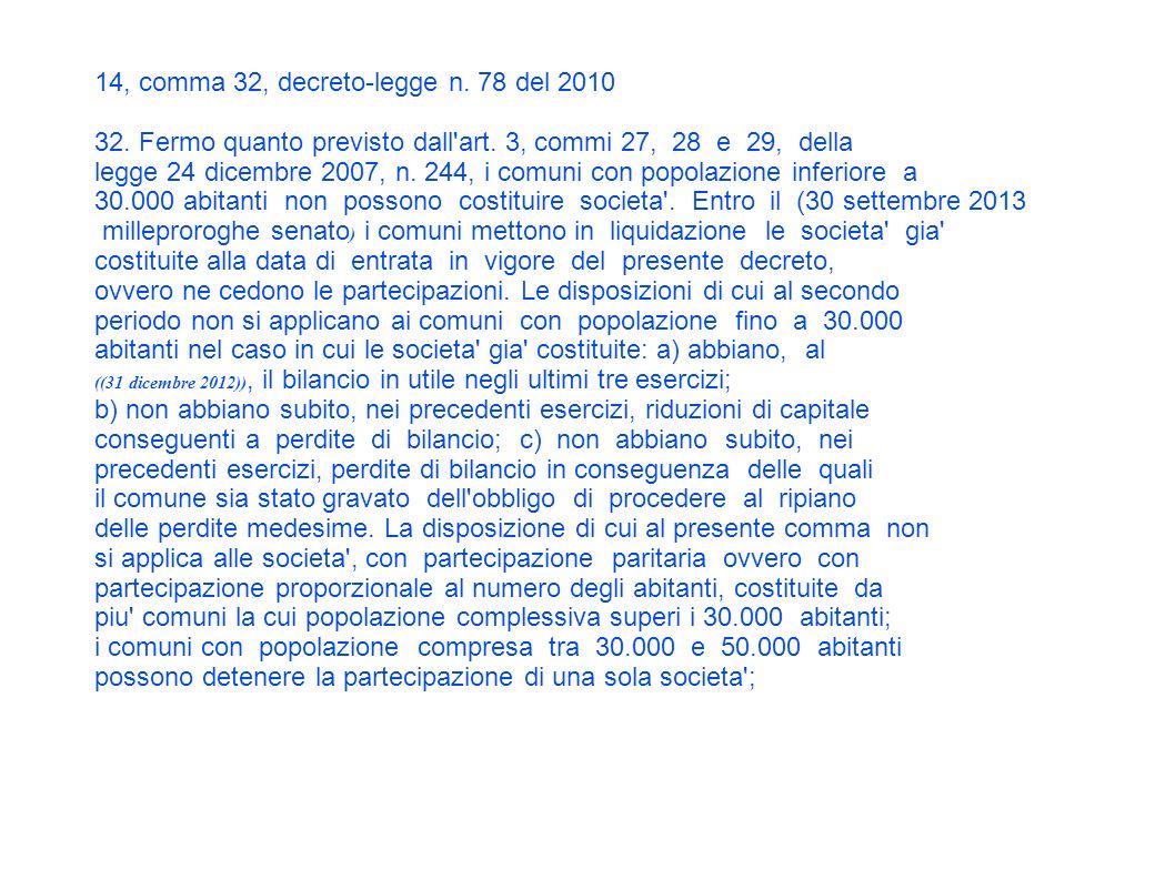 14, comma 32, decreto-legge n. 78 del 2010 32. Fermo quanto previsto dall art.