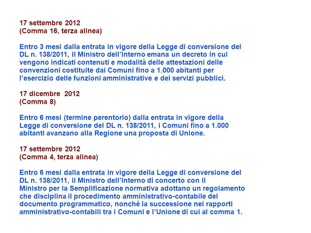17 settembre 2012 (Comma 16, terza alinea) Entro 3 mesi dalla entrata in vigore della Legge di conversione del DL n.