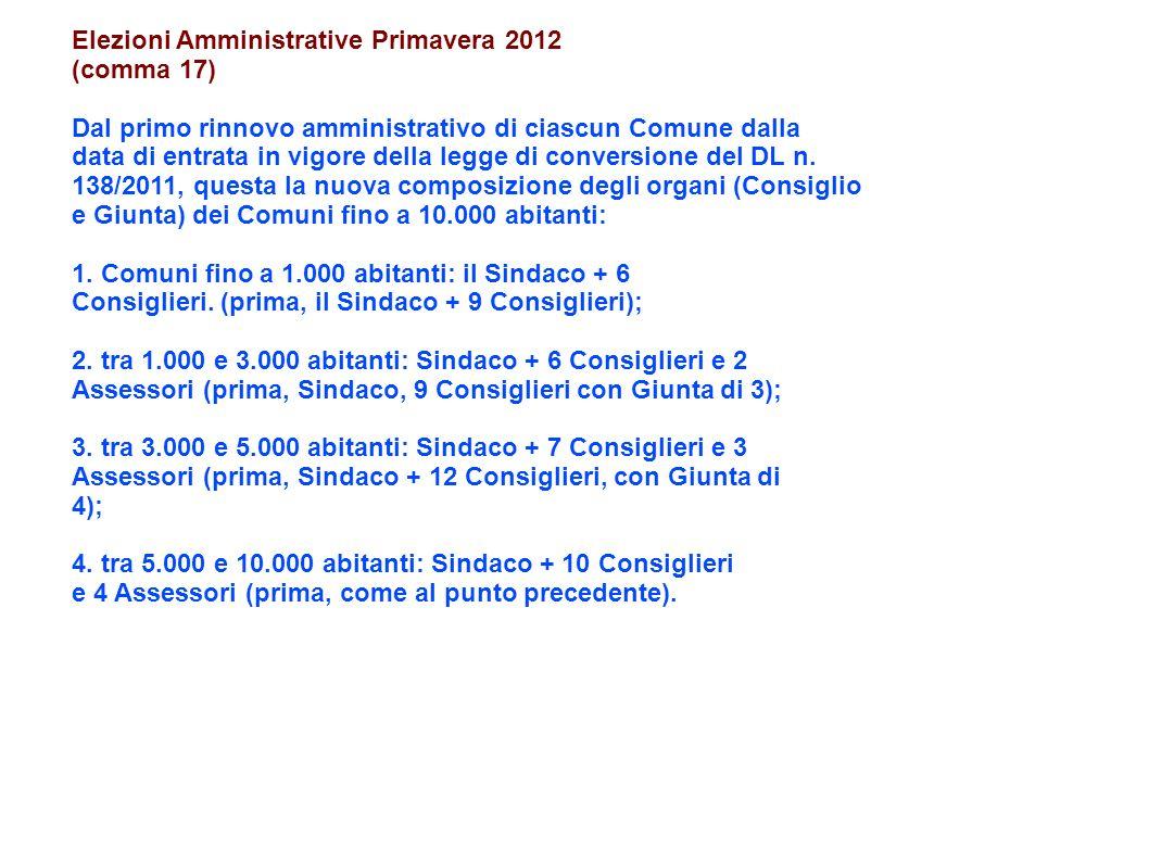 Elezioni Amministrative Primavera 2012 (comma 17) Dal primo rinnovo amministrativo di ciascun Comune dalla data di entrata in vigore della legge di conversione del DL n.