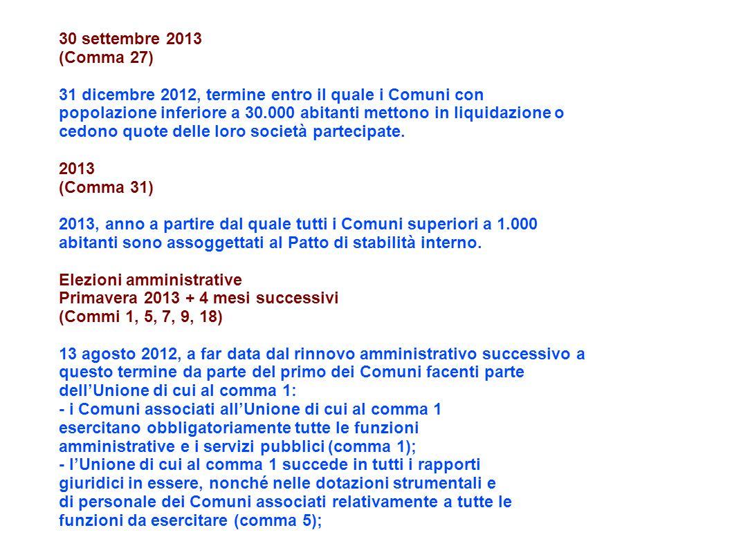 30 settembre 2013 (Comma 27) 31 dicembre 2012, termine entro il quale i Comuni con popolazione inferiore a 30.000 abitanti mettono in liquidazione o cedono quote delle loro società partecipate.