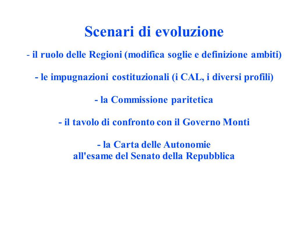 Scenari di evoluzione - il ruolo delle Regioni (modifica soglie e definizione ambiti) - le impugnazioni costituzionali (i CAL, i diversi profili) - la Commissione paritetica - il tavolo di confronto con il Governo Monti - la Carta delle Autonomie all esame del Senato della Repubblica