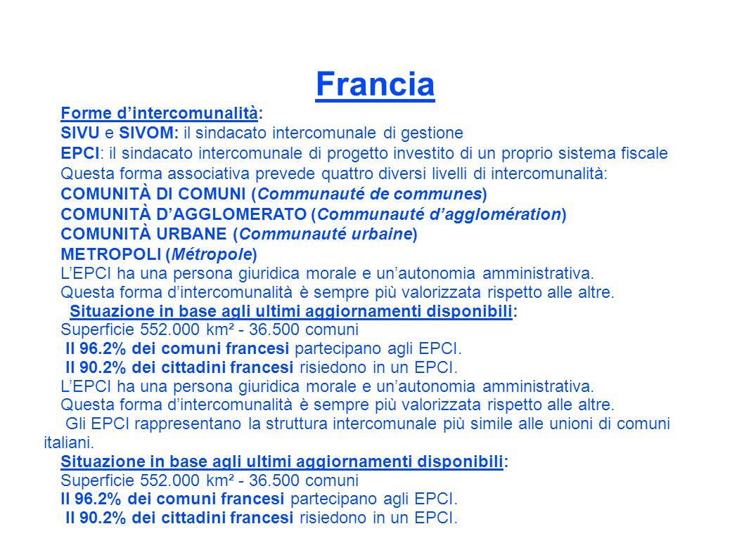 Francia Forme dintercomunalità: SIVU e SIVOM: il sindacato intercomunale di gestione EPCI: il sindacato intercomunale di progetto investito di un proprio sistema fiscale Questa forma associativa prevede quattro diversi livelli di intercomunalità: COMUNITÀ DI COMUNI (Communauté de communes) COMUNITÀ DAGGLOMERATO (Communauté dagglomération) COMUNITÀ URBANE (Communauté urbaine) METROPOLI (Métropole) LEPCI ha una persona giuridica morale e unautonomia amministrativa.
