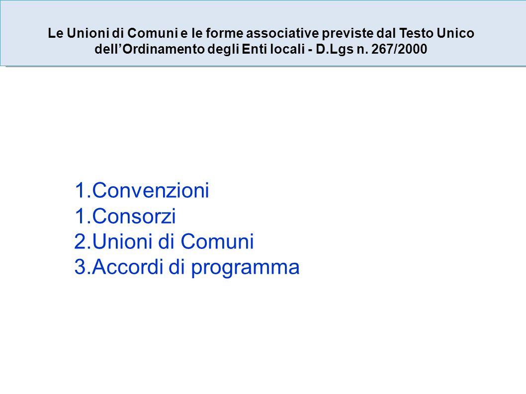 1.Convenzioni 1.Consorzi 2.Unioni di Comuni 3.Accordi di programma Le Unioni di Comuni e le forme associative previste dal Testo Unico dellOrdinamento degli Enti locali - D.Lgs n.