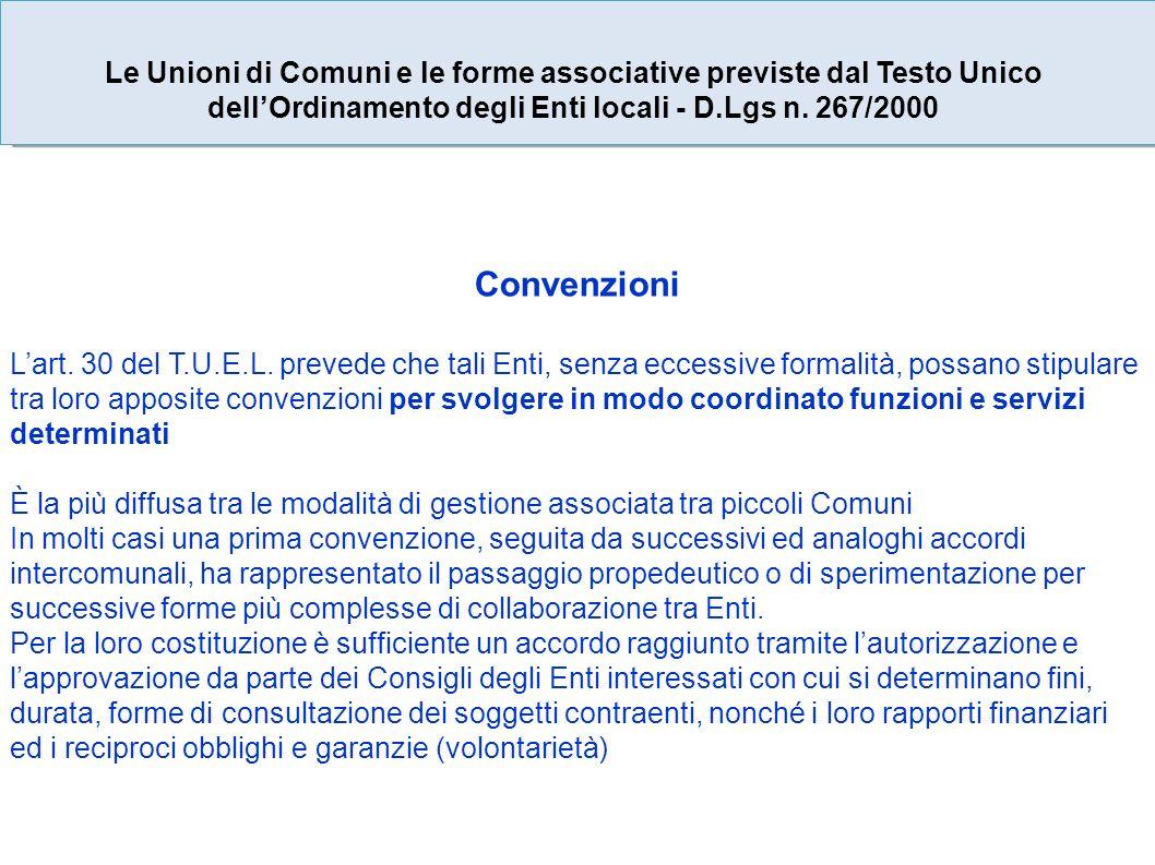 Convenzioni Lart. 30 del T.U.E.L.