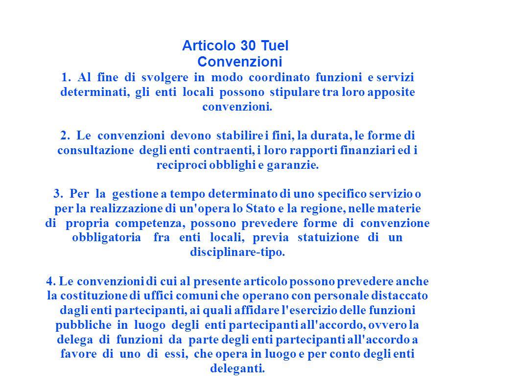 Articolo 30 Tuel Convenzioni 1.
