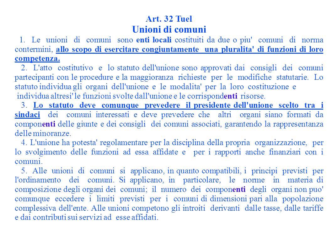 Art. 32 Tuel Unioni di comuni 1.