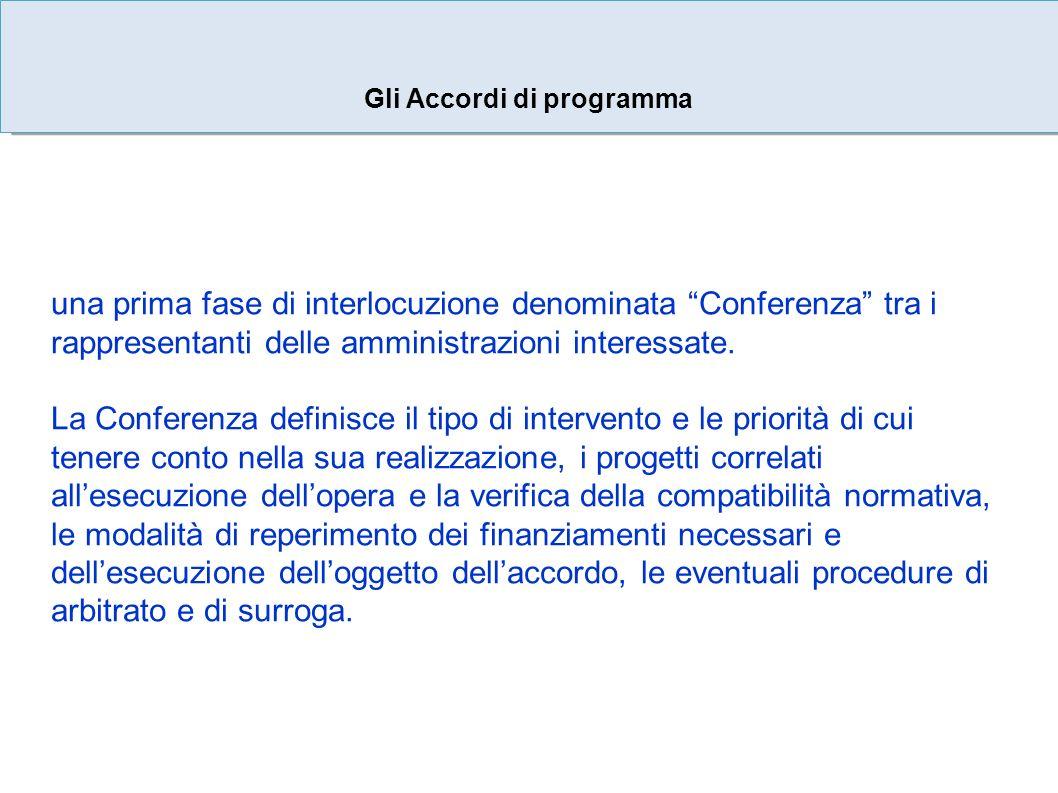 Gli Accordi di programma una prima fase di interlocuzione denominata Conferenza tra i rappresentanti delle amministrazioni interessate.