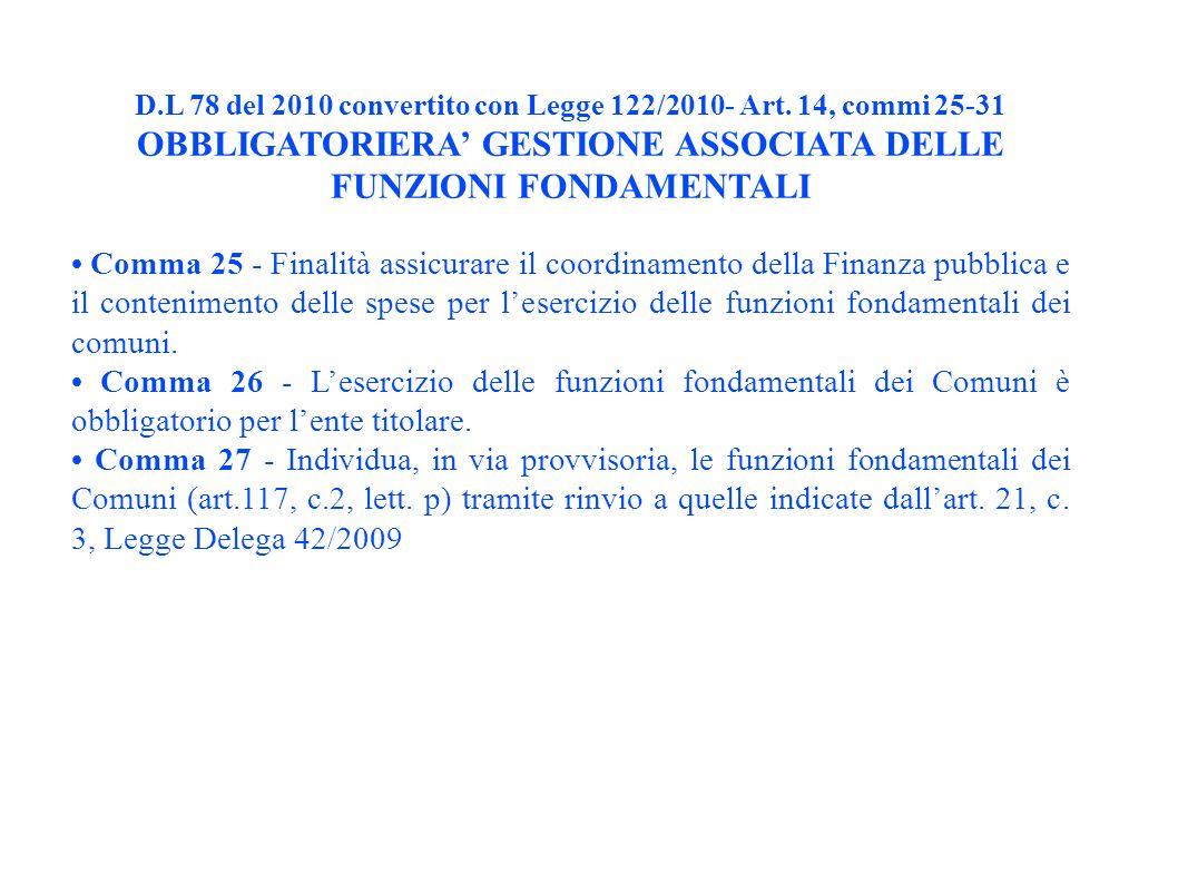 D.L 78 del 2010 convertito con Legge 122/2010- Art.