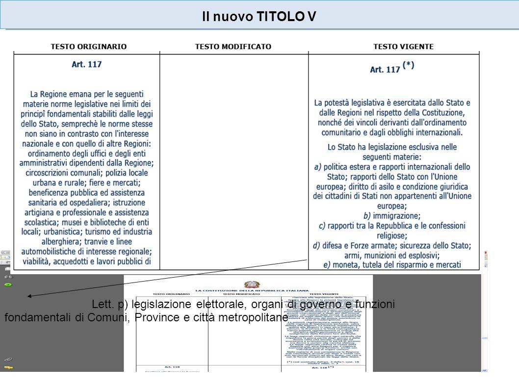 Il nuovo TITOLO V Lett.
