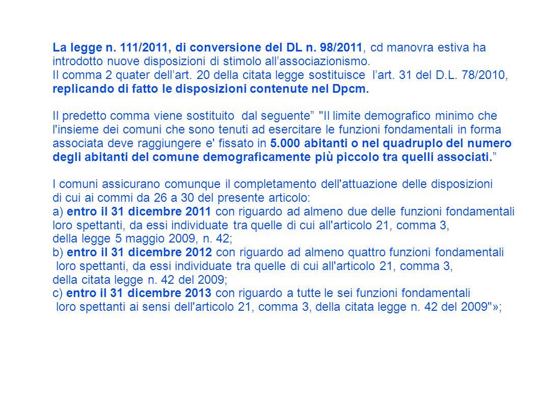 La legge n. 111/2011, di conversione del DL n.