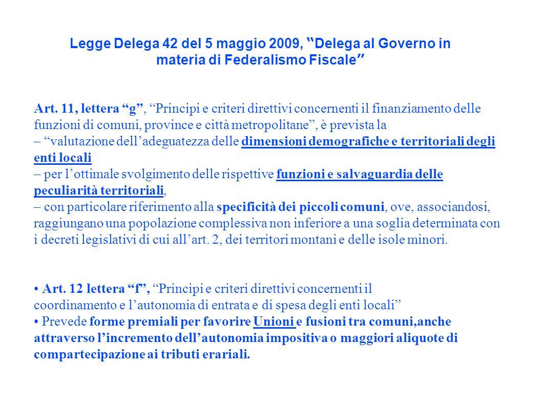 Legge Delega 42 del 5 maggio 2009, Delega al Governo in materia di Federalismo Fiscale Art.
