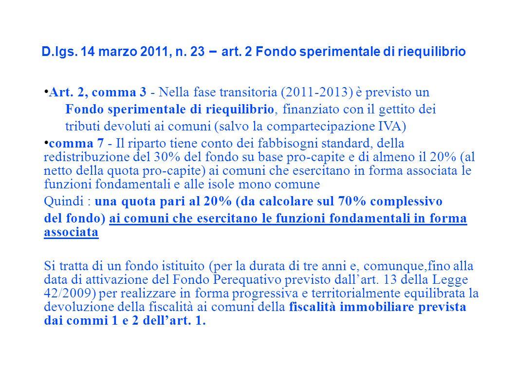 D.lgs. 14 marzo 2011, n. 23 – art. 2 Fondo sperimentale di riequilibrio Art.