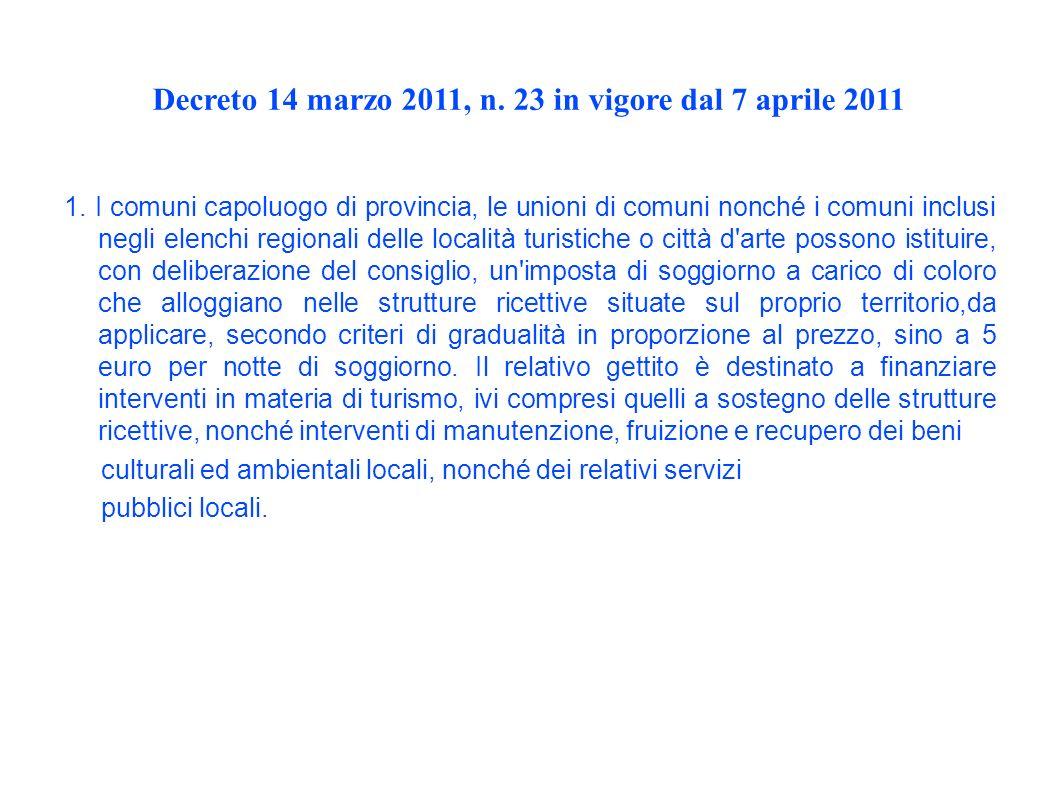 Decreto 14 marzo 2011, n. 23 in vigore dal 7 aprile 2011 1.