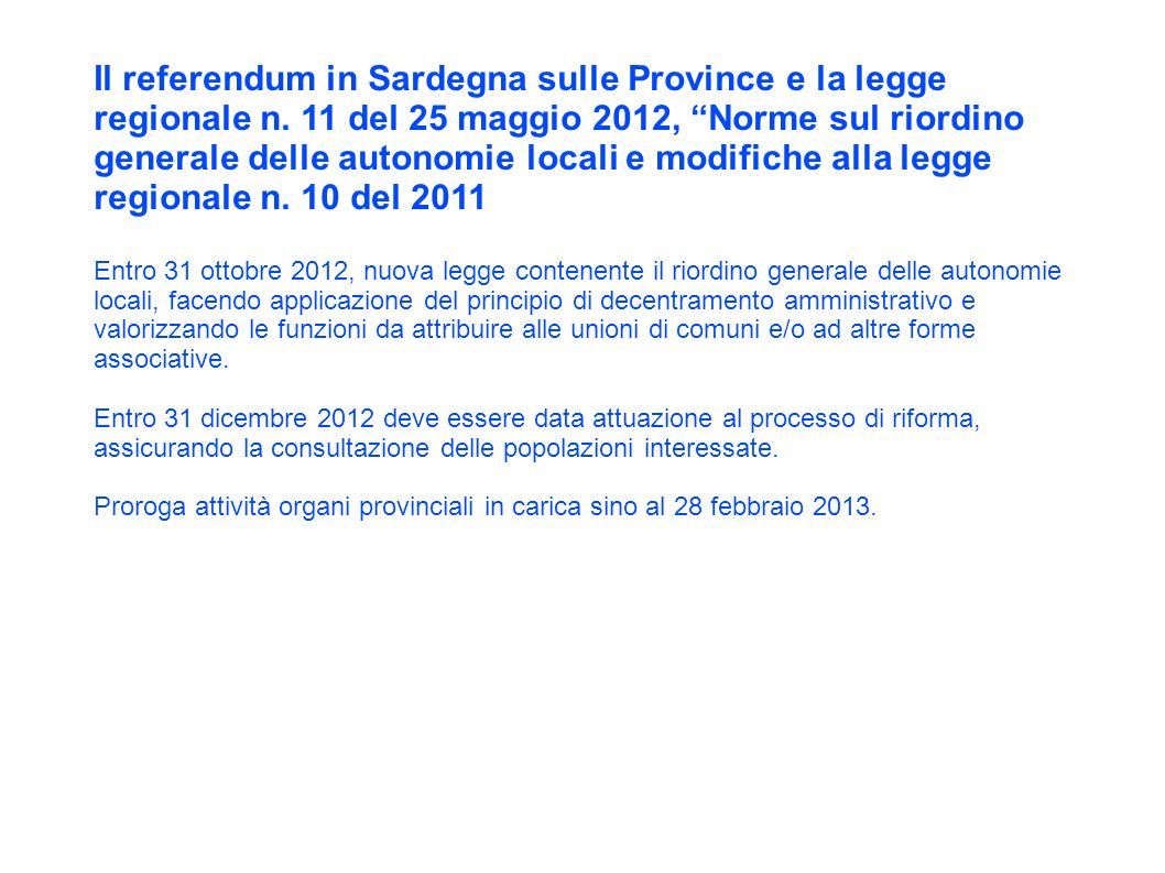 Il referendum in Sardegna sulle Province e la legge regionale n.