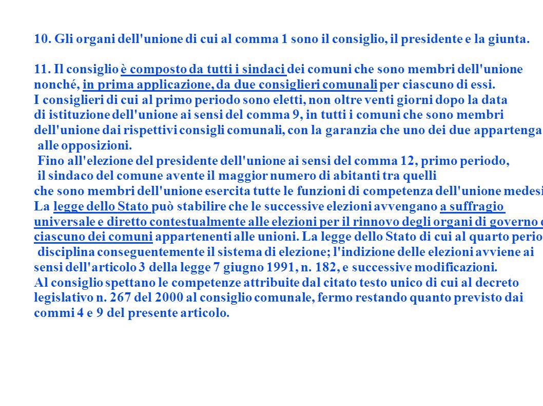 10. Gli organi dell unione di cui al comma 1 sono il consiglio, il presidente e la giunta.