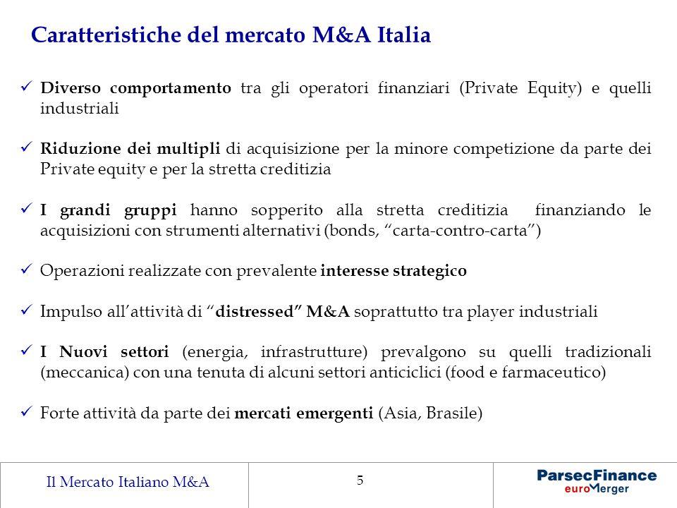 Il Mercato Italiano M&A 5 Caratteristiche del mercato M&A Italia Diverso comportamento tra gli operatori finanziari (Private Equity) e quelli industri