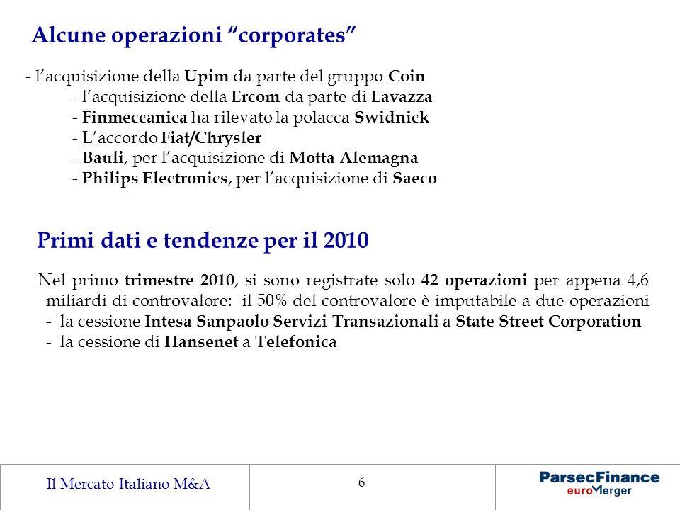 Il Mercato Italiano M&A 6 Alcune operazioni corporates - lacquisizione della Upim da parte del gruppo Coin - lacquisizione della Ercom da parte di Lav