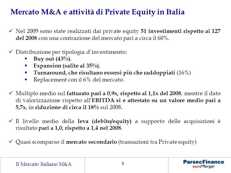 Il Mercato Italiano M&A 8 Mercato M&A e attività di Private Equity in Italia Nel 2009 sono state realizzati dai private equity 51 investimenti rispett
