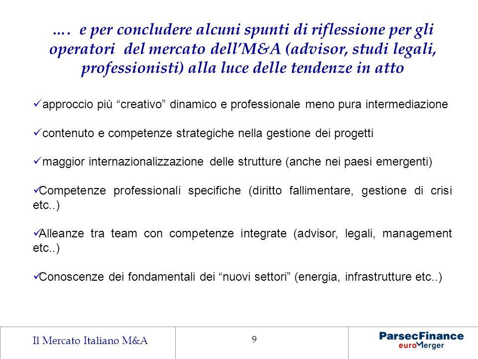 Il Mercato Italiano M&A 9 …. e per concludere alcuni spunti di riflessione per gli operatori del mercato dellM&A (advisor, studi legali, professionist