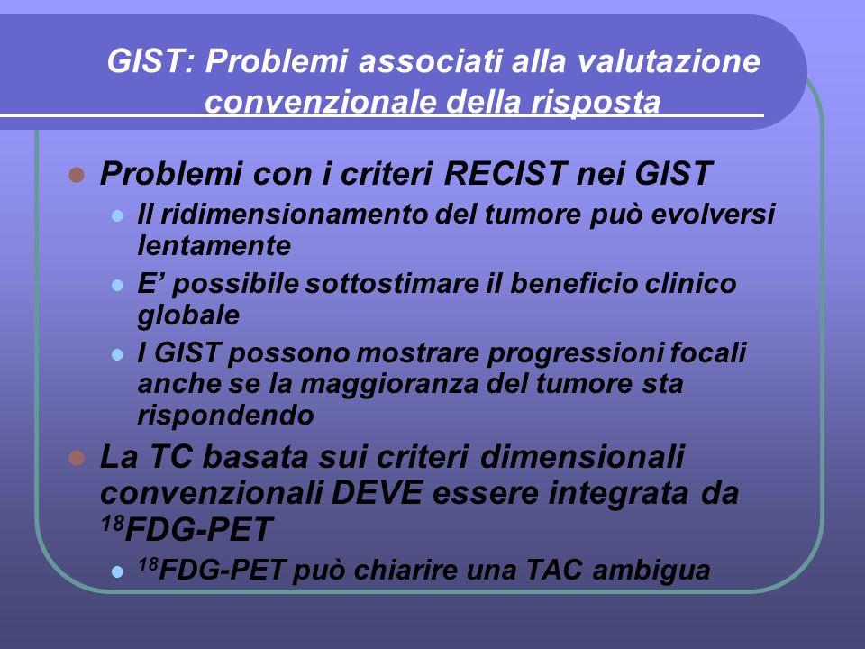 GIST: Problemi associati alla valutazione convenzionale della risposta Problemi con i criteri RECIST nei GIST Il ridimensionamento del tumore può evol