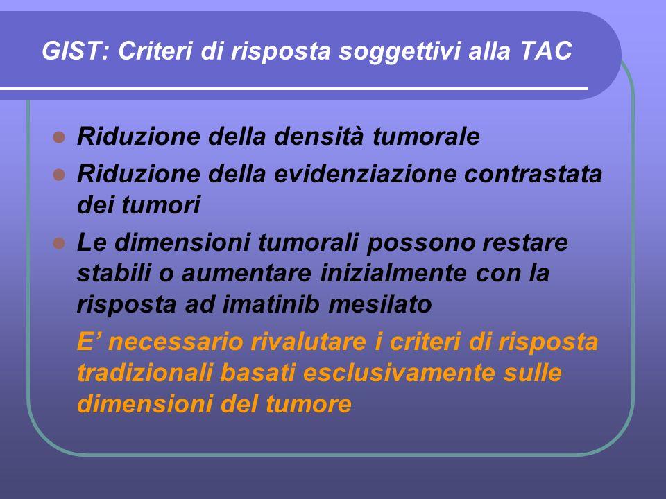 GIST: Criteri di risposta soggettivi alla TAC Riduzione della densità tumorale Riduzione della evidenziazione contrastata dei tumori Le dimensioni tum