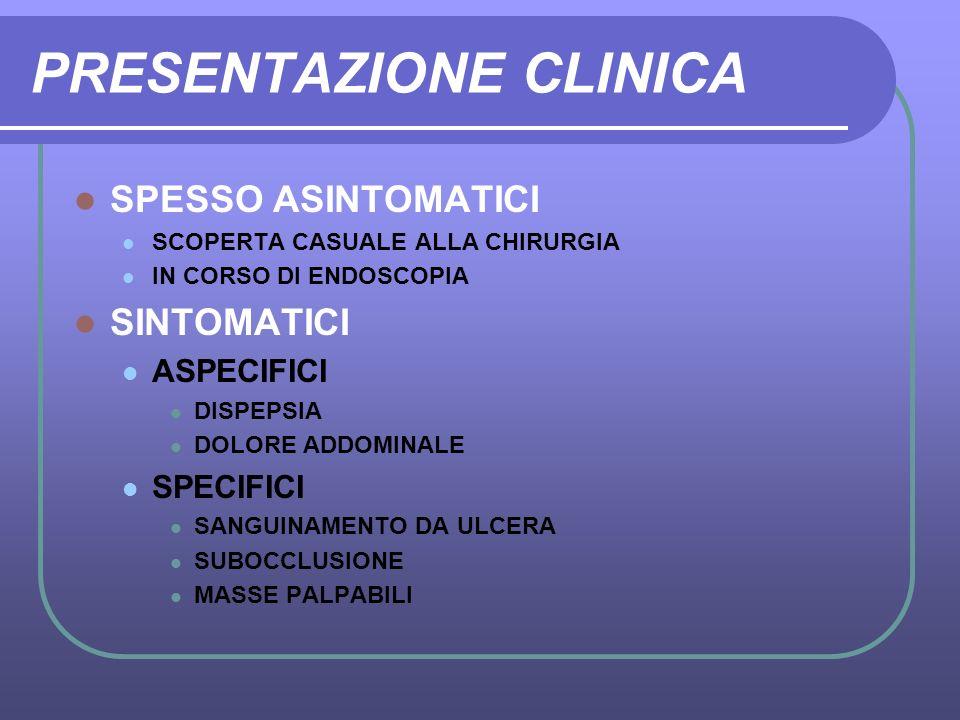 PRESENTAZIONE CLINICA SPESSO ASINTOMATICI SCOPERTA CASUALE ALLA CHIRURGIA IN CORSO DI ENDOSCOPIA SINTOMATICI ASPECIFICI DISPEPSIA DOLORE ADDOMINALE SP