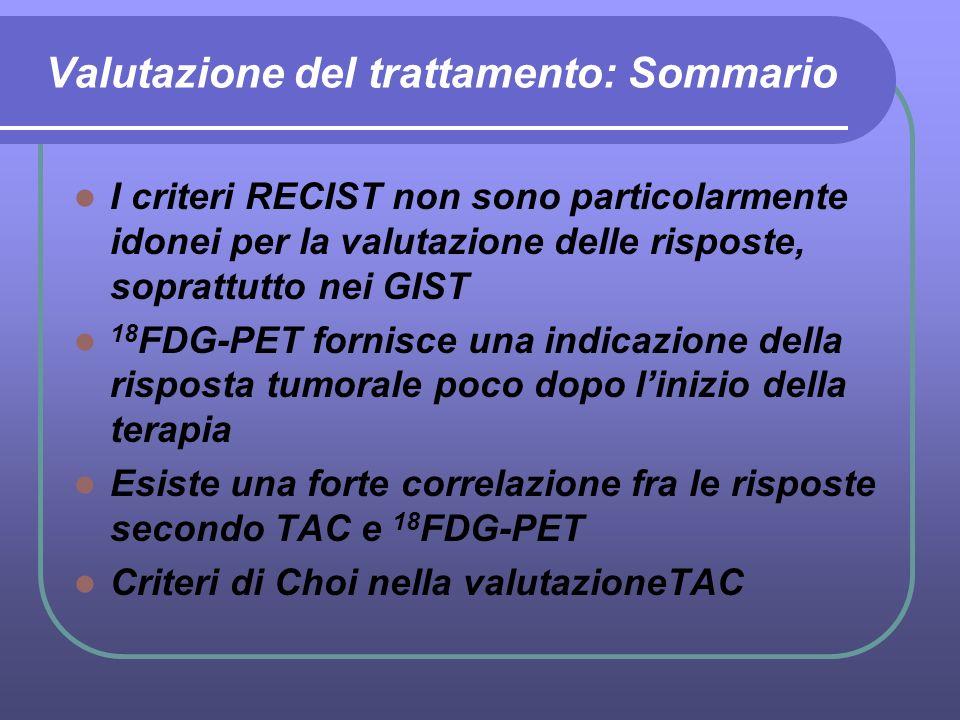 Valutazione del trattamento: Sommario I criteri RECIST non sono particolarmente idonei per la valutazione delle risposte, soprattutto nei GIST 18 FDG-