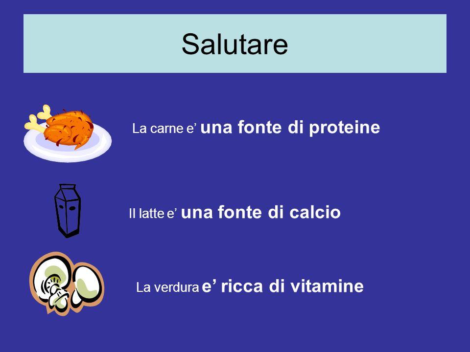 Salutare La carne e una fonte di proteine Il latte e una fonte di calcio La verdura e ricca di vitamine