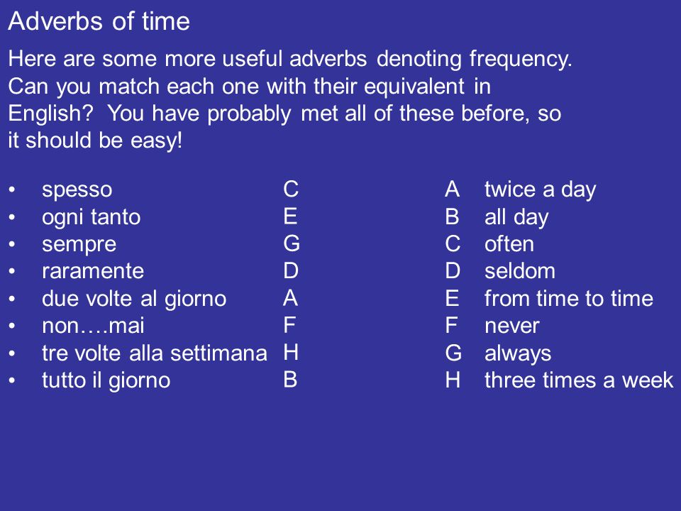 Adverbs of time Here are some healthy and less healthy activities.