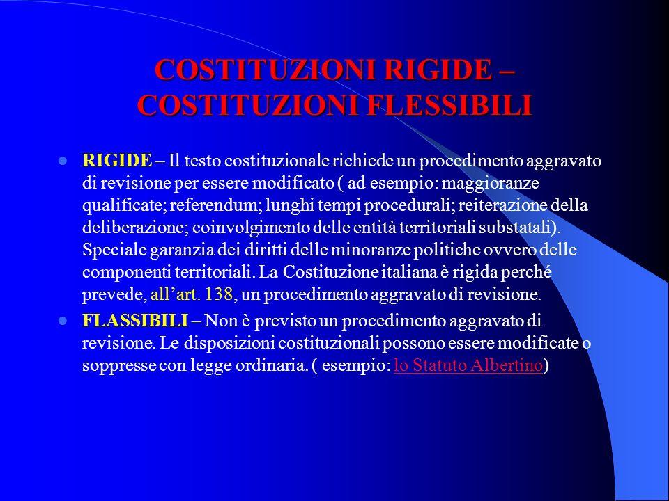 COSTITUZIONI SCRITTE – COSTITUZIONI CONSUETUDINARIE SCRITTE – Le norme delle Costituzione sono formalizzate in un documento scritto, che dà maggiore c