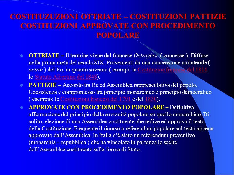 COSTITUZIONI BREVI – COSTITUZIONI LUNGHE BREVI – Diffuse nel XIX secolo. Contengono principalmente le norme sullorganizzazione dello Stato e si limita