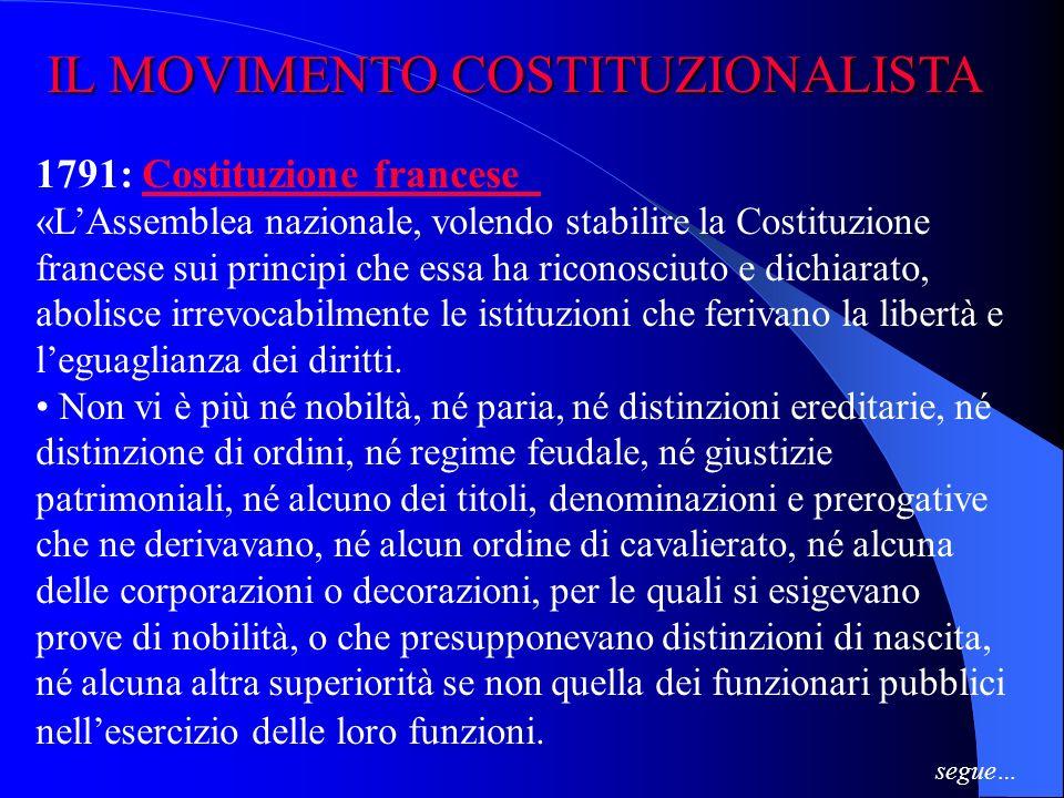 IL MOVIMENTO COSTITUZIONALISTA IL MOVIMENTO COSTITUZIONALISTA 1787: Costituzione degli Stati Uniti dAmerica Costituzione degli Stati Uniti dAmerica «N