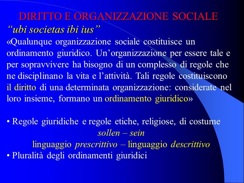 DIRITTO E ORGANIZZAZIONE SOCIALE DIRITTO E ORGANIZZAZIONE SOCIALE ubi societas ibi ius «Qualunque organizzazione sociale costituisce un ordinamento giuridico.