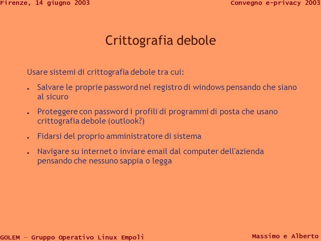 GOLEM – Gruppo Operativo Linux Empoli Convegno e-privacy 2003Firenze, 14 giugno 2003 Massimo e Alberto gestione utenti Entrando come utente su un sistema informatico il nome utente deve avere meno informazioni possibile sulla identità che voglio proteggere i cookies si chiamano robertoalderighi@ads.wanadooregie:robertoalderighi@ads.wanadooregi e>[1].txt Quindi se mi sono loggato con robertoalderighi come utente è inutile firmarsi Zorro