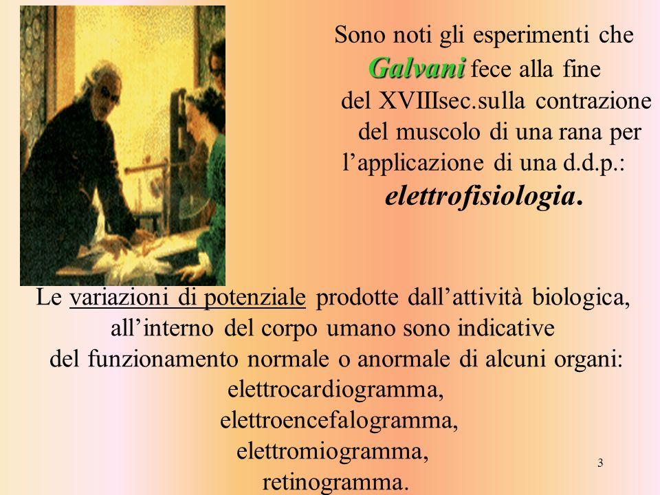 3 Galvani Sono noti gli esperimenti che Galvani fece alla fine del XVIIIsec.sulla contrazione del muscolo di una rana per lapplicazione di una d.d.p.: