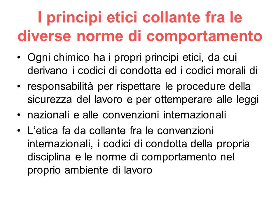 I principi etici collante fra le diverse norme di comportamento Ogni chimico ha i propri principi etici, da cui derivano i codici di condotta ed i cod