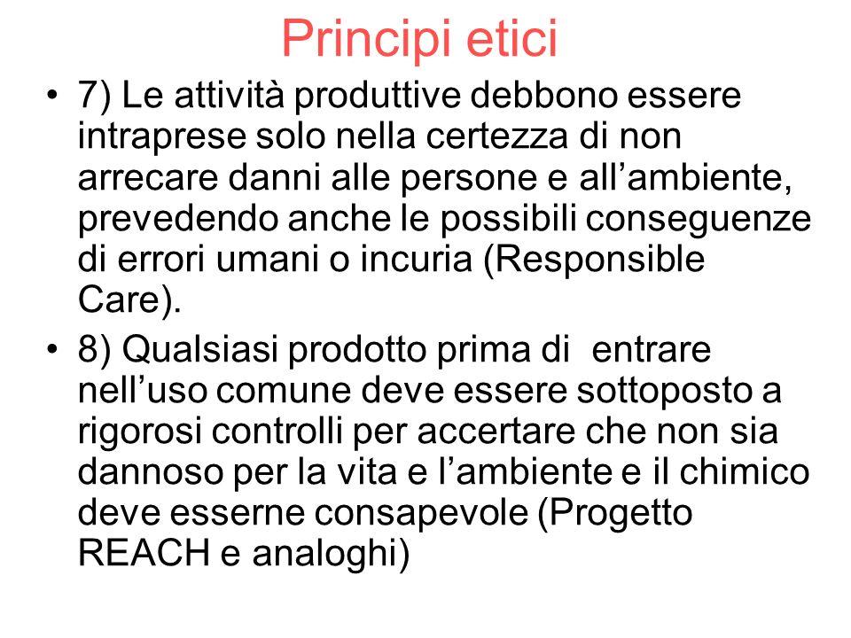 Principi etici 7) Le attività produttive debbono essere intraprese solo nella certezza di non arrecare danni alle persone e allambiente, prevedendo an