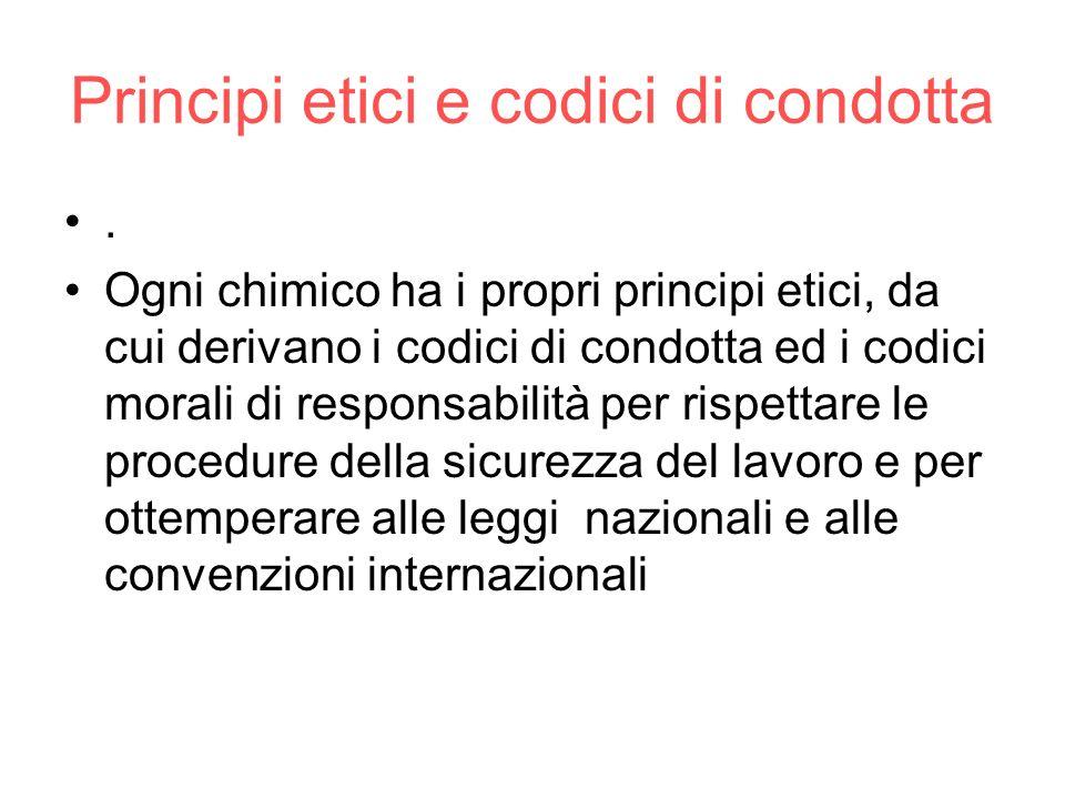 Principi etici e codici di condotta. Ogni chimico ha i propri principi etici, da cui derivano i codici di condotta ed i codici morali di responsabilit