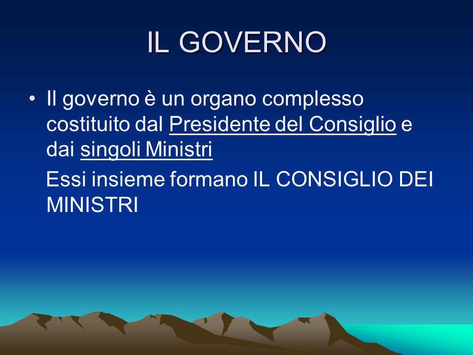 IL GOVERNO Il governo è un organo complesso costituito dal Presidente del Consiglio e dai singoli Ministri Essi insieme formano IL CONSIGLIO DEI MINIS