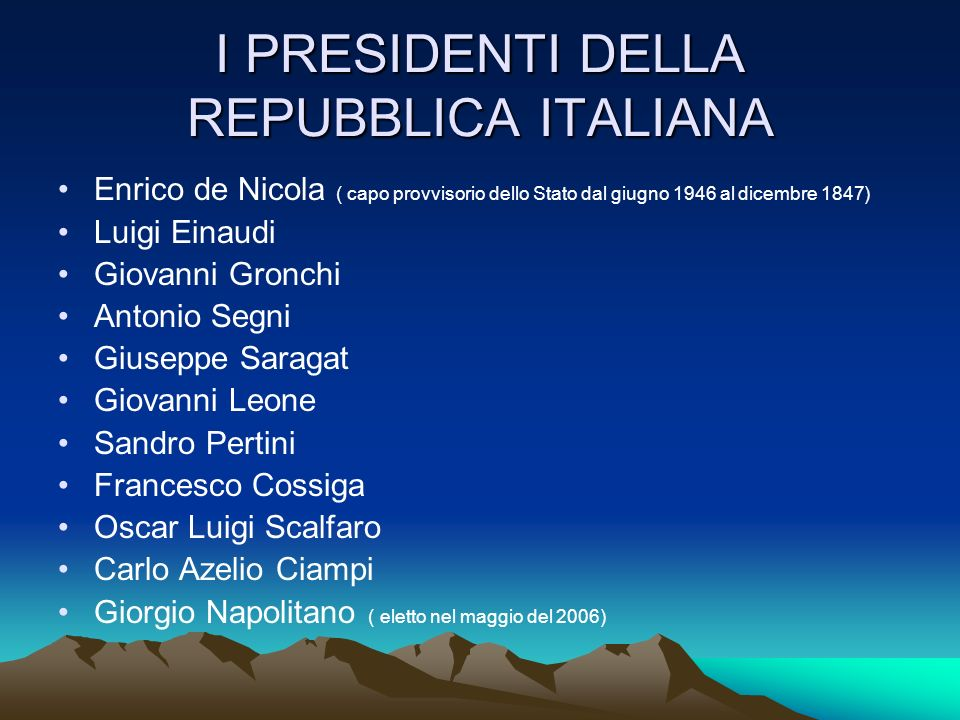 I PRESIDENTI DELLA REPUBBLICA ITALIANA Enrico de Nicola ( capo provvisorio dello Stato dal giugno 1946 al dicembre 1847) Luigi Einaudi Giovanni Gronch