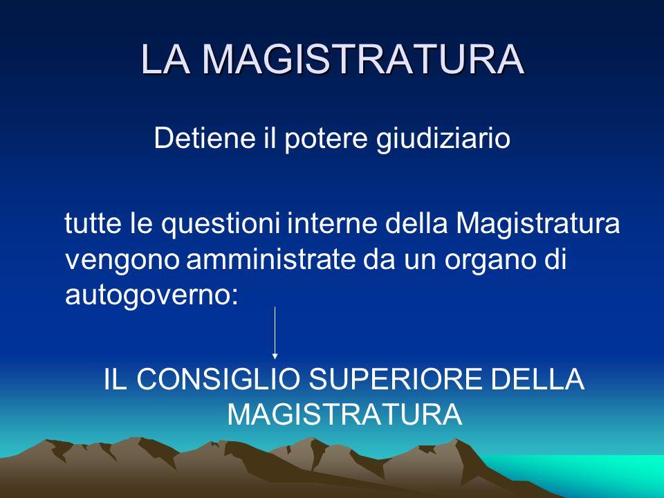 LA MAGISTRATURA Detiene il potere giudiziario tutte le questioni interne della Magistratura vengono amministrate da un organo di autogoverno: IL CONSI